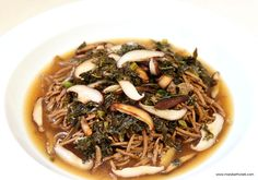 Spiced Tofu Noodles with Shiitake, Scallions, and Kale make a wonderful, soothing pasta dish without grain-based pasta. https://marybethclark.com/…  Perfect for #vegan #vegetarian #diet #lowcal #lowcarb #glutenfree #dairyfree #easyrecipe #fit #nutrition #healthy #asian #noodles #pasta.