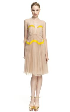 Delpozo pleated flowy etherel soft pale dress with stripe of yellow