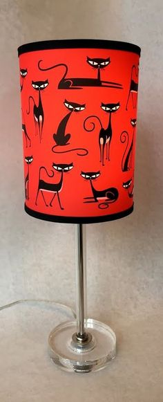 """Image of SHAG """"CATS"""" Table Lamp with LUCITE Base"""