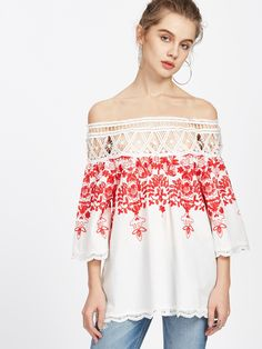 9bf3d0028f online shopping for Romwe Women's Off The Shoulder Boat Neck Embroidered  Blouse Half Sleeve Lace Top from top store. See new offer for Romwe Women's  Off The ...