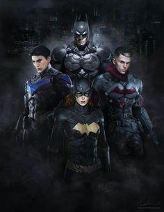 The 'Bat Family'. Bruce Wayne (Batman),Jason Todd (Red Hood), Barbara Gordon (Batgirl) and Dick Grayson (Nightwing): Foto Batman, Batman Vs Superman, Batman Art, Batman Robin, Batgirl, Nightwing, Catwoman, Comic Books Art, Comic Art