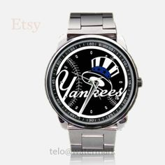 New York Yankees Logo Black Sport Metal Watch by telopolo on Etsy, $17.50
