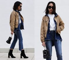 Get this look: http://lb.nu/look/8517171  More looks by Esther Luque: http://lb.nu/estherluque  Items in this look:  Sheinside Beige Bomber Jacket, Romwe Frayed Denim Shirt, Romwe Round Neck Top, Stylewe Assymetric Jeans, Giant Vintage Black Sunnies, Zaful Metal Ring Bag, Mango Wide Heel Ankle Boots   #casual #minimal #street #neutrals #basics #chic