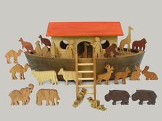 If you are looking for a Noah's Ark (boat 17x10x7) (43cm x 25cm x 18cm) for a child, seek no further. Our Play Ark is a sturdy wooden toy made for children to enjoy. The wooden animals are large thick and study. Grandparents, godparents, Sunday school teachers, Rabbis, and Waldorf educators use this Noahs Ark as an educational gift to explain the biblical story of Noah saving the animals from the flood. It is constructed with small wooden wheels to roll along the floor. The red roof is…