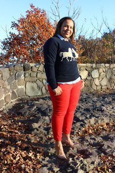 J crew horse sweatshirt. Plus size fashion blogger. Curvy fashion.