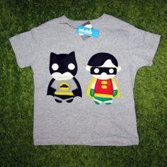 Handmade Felt Appliqued Batman  Robin Toddler Shirt #batman #robin ... Price: $34.00 ... Where to Buy: Alwaysfits.com ...  ♥ the #giftdetectives