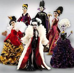 Disney Villains Maleficent, Ursula, Evil Queen, Mother Gothel, Cruella De Vil and Queen of Hearts Doll Collection