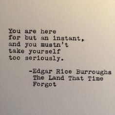 """Edgar Rice Burroughs Quote from """"The Land That Time Forgot"""" Typed on Typewriter by #LettersWithImpact"""