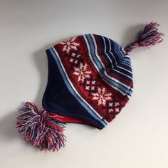 Nordic Style Blue and Red Stocking Cap for Infant/Toddler 12-36 months #TOBYNYC