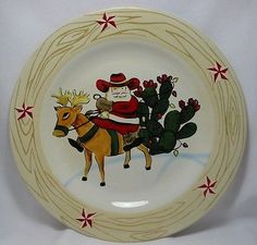 Christmas-Plate-Cowboy-Santa-Claus-Riding-His-Reindeer-Prickly-Pear-Cactus-11-034