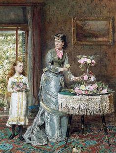 KILBURNE, George Goodwin (English, 1839 - 1924)_Arranging the Flowers