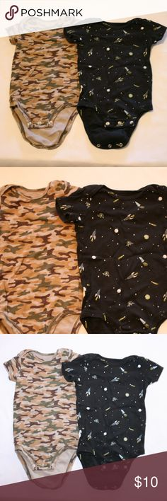 Carter's Onesies Camo and Starships 12 Months Bundle of 2 onesies by Carter's. One is green and brown camo, the other is dark blue with spaceships. Carter's One Pieces Bodysuits