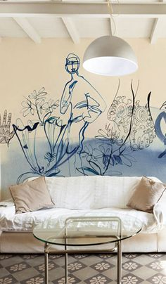 Watercolor illustration for wallpaper, woman and flowers