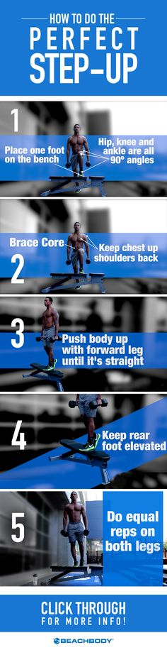You might think that a step-up only works your legs, but it actually does a whole lot more. Follow these tips to maximize the effectiveness of this move, and watch the results roll in. // fitness tips // leg workouts // lower body workouts  // strength training // basic moves // expert advice // fitfam // Beachbody // BeachbodyBlog.com