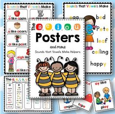 The a e i o u Posters - Sounds that Vowels Make Helpers Long vowels and short vowel posters, charts, cards and desk strips. This file is a collection of aids that will complement your phonemic awareness and phonics program. Phonics Rules, Jolly Phonics, Teaching Phonics, Rhyming Preschool, Phonics Lessons, Guided Reading Strategies, Reading Fluency, Reading Intervention, Teaching Reading