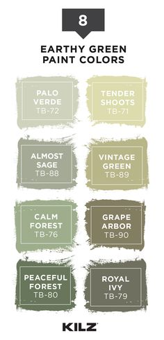 Create a boho-chic, earthy design style with this trending paint color palette from KILZ TRIBUTEⓇ. These calming shades of green, olive, and sage pair well with neutral shades like white or gray. Click below to explore more paint colors for your home.