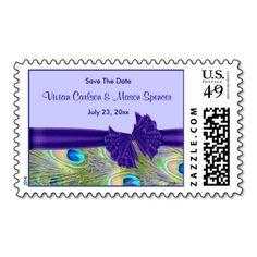 Purple Peacock Wedding Invitations Postage Stamps