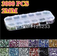 New 3000pcs Mix 12 Color 2mm Circle Beads Nail Art Tips Rhinestones Glitters Acrylic UV Gel Gems Decoration with Hard Case J14(China (Mainland))