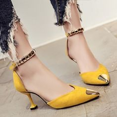 Women's shoes 2017 spring and summer new brand OL high heels fine with single shoes comfortable office shoes sexy wedding shoes High Heel Sneakers, Sneaker Heels, High Heel Pumps, Pumps Heels, Girls Sneakers, Strappy Heels, Ankle Strap Heels, Ankle Straps, Pencil Heels