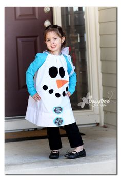 Snowman activities: DIY Pillowcase snowman dress.  She also made a pumpkin one too.