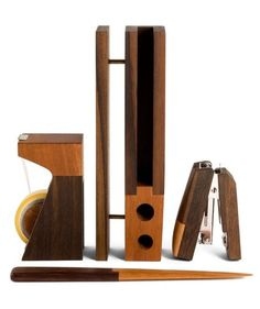 Make sure his workspace feels anything but drab with these dapper wooden desk accessories. The two-toned wood complements just about any space. Plus, he'll feel good about the story behind these cool finds: Each piece is handcrafted by local carpenters in Indonesian villages with high unemployment rates.