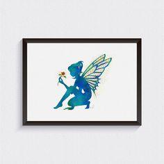 Blue Fairy Art Print, Fairy Watercolor, Nursery Wall Decor, Baby Girl Nursery, Baby Shower Gift, Fairy-tale Nursery, Watercolor Nursery {61}
