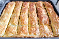 Greek Eggplant Pie with Peppers and Feta (Melitzanopita) - SocraticFood Greek Recipes, Pie Recipes, Italian Recipes, Cooking Recipes, The Kitchen Food Network, Frugal Meals, Frugal Recipes, Tomato Pie, Puff Pastry Sheets