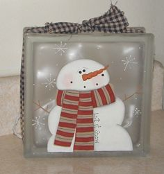 christmas craft show ideas - Bing Images Christmas Glass Blocks, Christmas Craft Show, Christmas Projects, Christmas Ornaments, Snowman Ornaments, Christmas Signs, Painted Glass Blocks, Decorative Glass Blocks, Lighted Glass Blocks