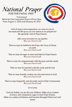 National Prayer for the Papal Visit ~ Pope Francis