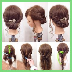 """218 mentions J'aime, 19 commentaires - SWEETS HAIR 辻川 裕美 (@yumi_t118) sur Instagram : """"ギブソンタック風アレンジ 1.耳上の髪をとり、分け目をギザギザにして2つに分けます。 2.左右それぞれ、ロープ編み込みして下の方で1つにしばります。 ※ロープ編みが出来なければ、ねじるだけでも…"""""""