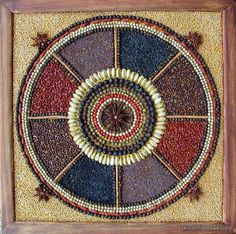 Mandala of spices and seeds from Theresa Beynon Garden Crafts, Garden Art, Classroom Charter, Seed Craft, Seed Bead Art, Kindergarten Art Projects, Mosaic Garden, Environmental Art, Mural Art