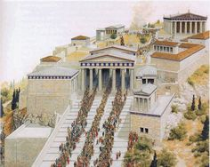 Throngs make their way up the causeway to the Acropolis in this artistic imagining of the Panathenaic Procession. ImageCourtesy of Yale University Press Ancient World History, Greek History, Roman History, European History, American History, Ancient Greek Architecture, Roman Architecture, Historical Architecture, India Architecture