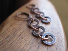 antique copper earrings modern circle earrings modern by Splurge, $24.00