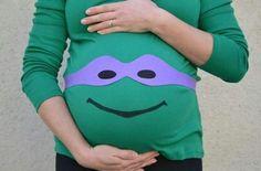 DIY Maternity Ninja Turtle Costume Idea | Cute And Creative Halloween Costumes by DIY Ready at http://diyready.com/diy-ninja-turtle-costume-ideas/