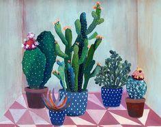 Cactus garden - ilustración - Giclée impresión