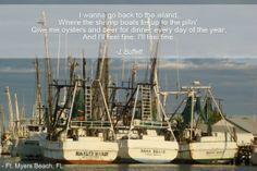 Fort Myers Beach Shrimp boats with Jimmy Buffett's Tin Cup Chalice lyrics.