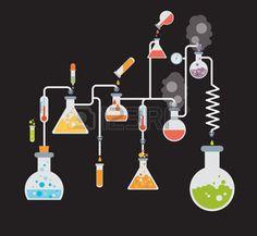steam heating: Plantilla infografía Química mostrando varias pruebas que se realizan en la cristalería de laboratorio utilizando soluciones químicas coloridas y reacciones sobre un fondo gris conceptual de la ciencia y la industria