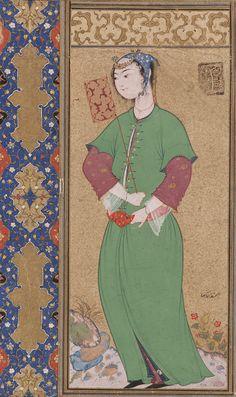 Lady with a Fan ca. 1590-92  Riza Abbasi ca. 1565-1635) Safavid period  Opaque watercolor and gold on paper H: 16.1 W: 9.8 cm Iran