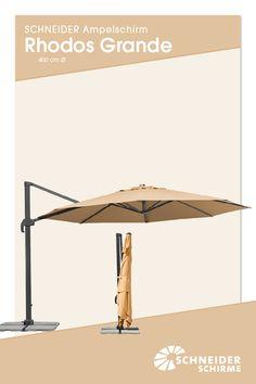 Ampelschirm: Rhodos Grande: 400 Cm Ø // Bespannung:100 % Polyester, Ca. 200  G/m², Verrottungsfest, Wasserabstoßend Imprägniert, Mit Air Vent, Ohne  Volant, ...