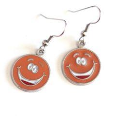 Orange Smiley Face Enamel Charm Earrings - Happy Face Earrings - Face Charms - Tween Earrings by SKWOriginalsbySummer on Etsy