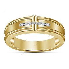 VVS1 Diamond Yellow Gold Finish Channel Setting Wedding Men's Band (Size 7-14) #aonejewels #MensBandRing