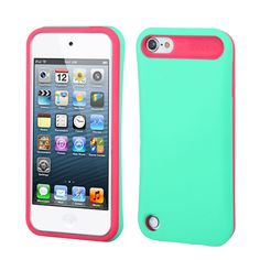 Turquoise Hot Pink Card Wallet Hard Soft Rubber Hybrid Case iPod Touch 5th Gen   eBay