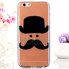 Blue- Ray IML Soft Translucence TPU Back Case for iPhone 6 Plus/ 6S Plus - Cartoon Mustache