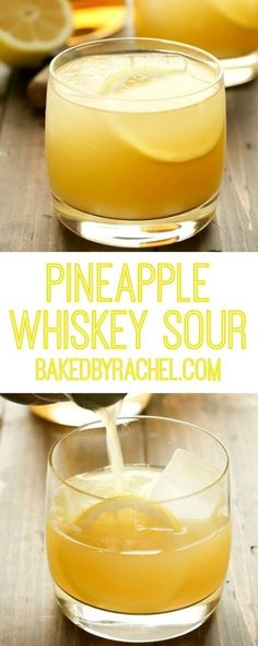 Refreshing 3 ingredient pineapple whiskey sour recipe from Rachel {Baked by Rach… – Cocktail Liquor Drinks, Whiskey Cocktails, Non Alcoholic Drinks, Cocktail Drinks, Cocktail Recipes, Beverages, Cocktail Night, Whiskey Mixed Drinks, Bourbon Drinks