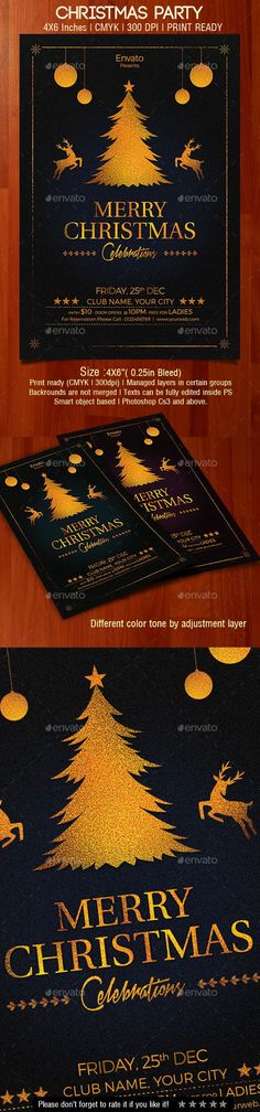 Chistmas Party Flyer is perfect for your upcoming christmas party. File Specification: 4x6 with (0.25in Bleed ) CMYK Print Ready 300dpi fully Editable Smart Object Based Well Managed layer & groups The free fonts used in the design are: http://www.f