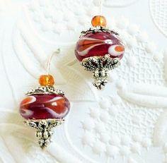 Lampwork Earrings, Glass, Bead,  Made in Canada, Dangle, Drop, Colourful Orange Bead Earrings