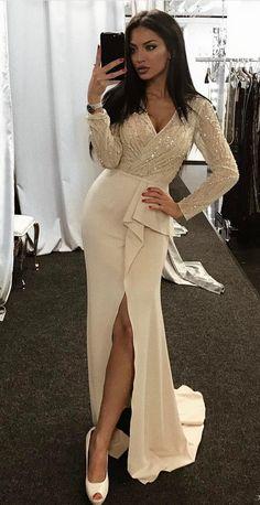 Beaded Long Sleeves Prom Dresses V-Neck . 815442adf7b3
