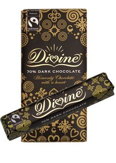 """Divine 70% Dark Chocolate - one of my favorite """"plain"""" dark chocolate bars.  More sweet than bitter with a smooth, velvety texture.  Fair trade, non-GMO"""