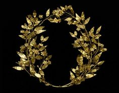 Ancient Greek Myrtle Wreath, c. 330-250 BC. Gold. From The Museum of Fine Arts, Houston, but found here. Myrtle was sacred to Aphrodite, and brides wore wreaths of myrtle and bathed in myrtle water on...