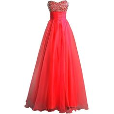 BIXIZHIRAN Women's Sleeveless Long Ball Gown Prom Dress ($49) ❤ liked on Polyvore featuring dresses, gowns, prom ball gowns, red gown, red dress, long prom dresses and red prom gowns